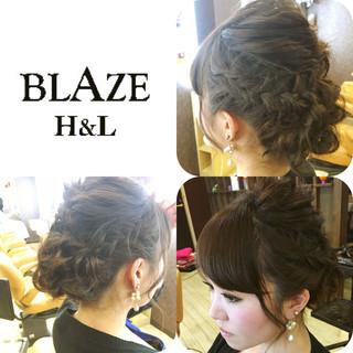 ミディアム 編み込み ヘアアレンジ ショート ヘアスタイルや髪型の写真・画像 ヘアスタイルや髪型の写真・画像