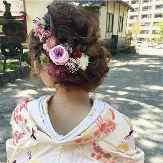 大人女子 結婚式 セミロング エレガント ヘアスタイルや髪型の写真・画像
