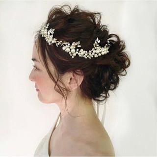 大人かわいい パーティ セミロング 結婚式 ヘアスタイルや髪型の写真・画像