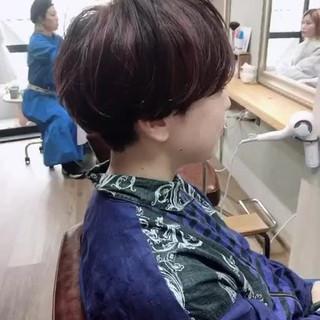 パープルアッシュ ピンクアッシュ ラベンダーピンク ショート ヘアスタイルや髪型の写真・画像