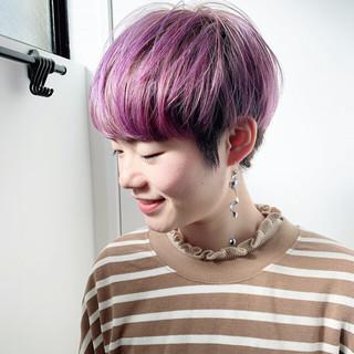 ショート ブルーバイオレット ミニボブ パープルアッシュ ヘアスタイルや髪型の写真・画像