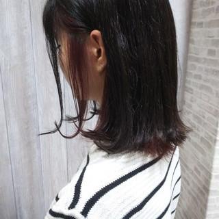 アウトドア ヘアカラー ミディアム インナーカラー ヘアスタイルや髪型の写真・画像