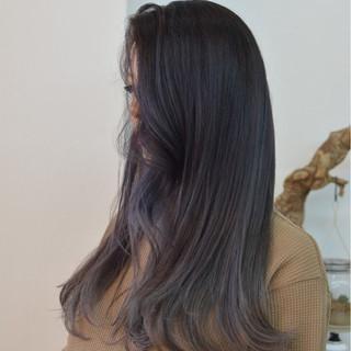 パープル ロング エレガント 上品 ヘアスタイルや髪型の写真・画像
