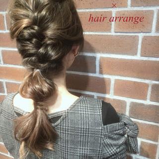 簡単ヘアアレンジ ゆるふわ グレージュ セミロング ヘアスタイルや髪型の写真・画像