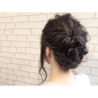 ハーフアップ ショート フェミニン 簡単ヘアアレンジ ヘアスタイルや髪型の写真・画像