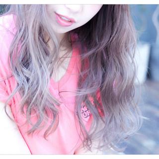 ロング 外国人風 ヘアアレンジ アッシュ ヘアスタイルや髪型の写真・画像