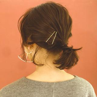ヘアアレンジ 簡単ヘアアレンジ ボブ ナチュラル ヘアスタイルや髪型の写真・画像 ヘアスタイルや髪型の写真・画像