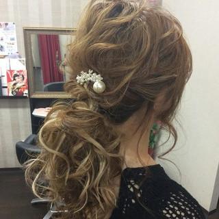 ポニーテール 結婚式 ヘアアレンジ 女子力 ヘアスタイルや髪型の写真・画像