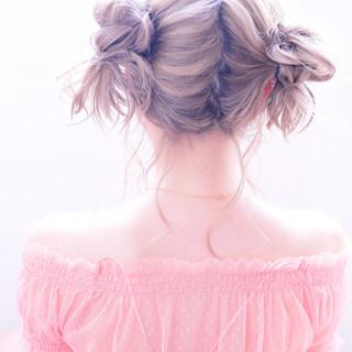 ガーリー 外国人風 ヘアアレンジ ミディアム ヘアスタイルや髪型の写真・画像