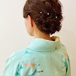 エレガント セミロング ヘアアレンジ ふわふわヘアアレンジ ヘアスタイルや髪型の写真・画像