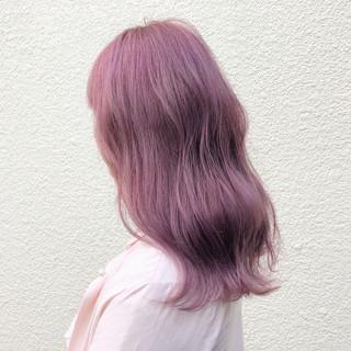 外国人風カラー ピンク ラベンダーピンク 透明感 ヘアスタイルや髪型の写真・画像