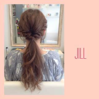 ショート ロープ編み ヘアアレンジ ポニーテール ヘアスタイルや髪型の写真・画像