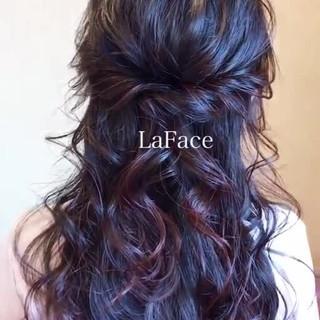 ハーフアップ 黒髪 簡単ヘアアレンジ ヘアアレンジ ヘアスタイルや髪型の写真・画像