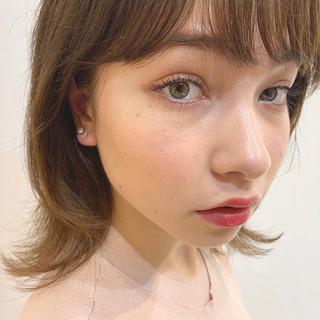 ベージュカラー ウルフカット フェミニン ピンクカラー ヘアスタイルや髪型の写真・画像