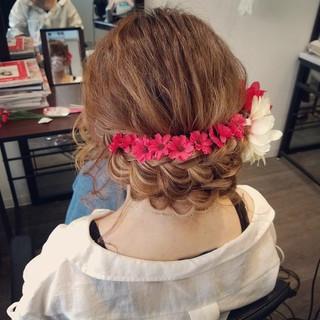 ガーリー ヘアアレンジ 和装 編み込み ヘアスタイルや髪型の写真・画像 ヘアスタイルや髪型の写真・画像