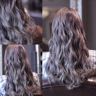 ウェーブ アッシュ ロング モード ヘアスタイルや髪型の写真・画像