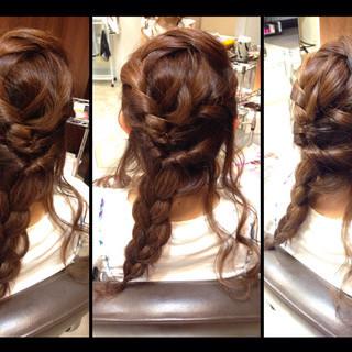 ゆるふわ フェミニン セミロング 編み込み ヘアスタイルや髪型の写真・画像