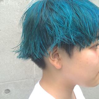 ベリーショート ショート ストリート ブルー ヘアスタイルや髪型の写真・画像