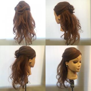 ハーフアップ セミロング エレガント ブライダル ヘアスタイルや髪型の写真・画像 ヘアスタイルや髪型の写真・画像