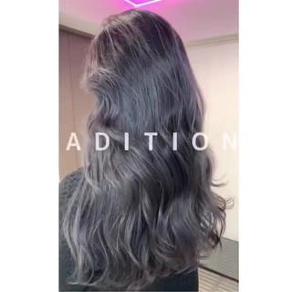 アッシュグレー ミディアム 外国人風カラー グレー ヘアスタイルや髪型の写真・画像