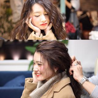 フェミニン セミロング ロブ コンサバ ヘアスタイルや髪型の写真・画像