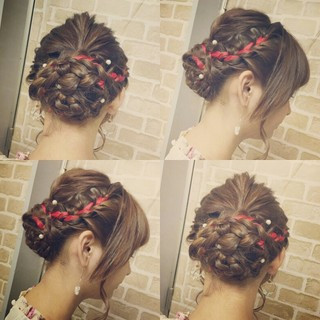 着物 ロング 外国人風 編み込み ヘアスタイルや髪型の写真・画像