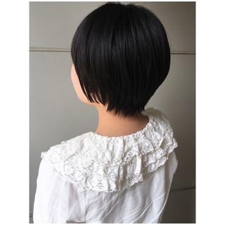 ショート ショートヘア ナチュラル 黒髪 ヘアスタイルや髪型の写真・画像