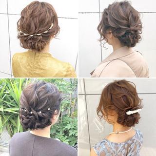 アンニュイほつれヘア セミロング 結婚式 ヘアアレンジ ヘアスタイルや髪型の写真・画像