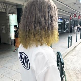 モード ミディアム 抜け感 ブリーチ ヘアスタイルや髪型の写真・画像