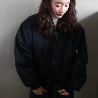 モード 暗髪 ロング ウェーブ ヘアスタイルや髪型の写真・画像