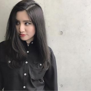 暗髪 ストリート 黒髪 セミロング ヘアスタイルや髪型の写真・画像