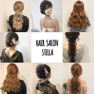 アップ ヘアセット セミロング ヘアアレンジ ヘアスタイルや髪型の写真・画像
