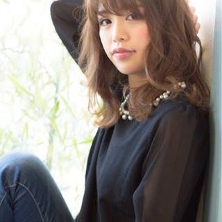 ナチュラル フェミニン 渋谷系 ミディアム ヘアスタイルや髪型の写真・画像