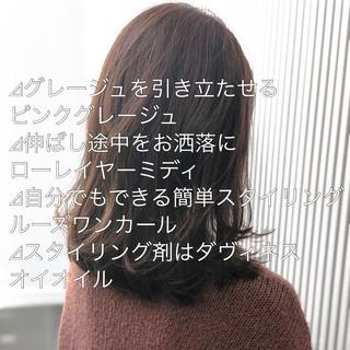 ミルクティーグレージュ グレージュ アッシュグレージュ ミディアム ヘアスタイルや髪型の写真・画像