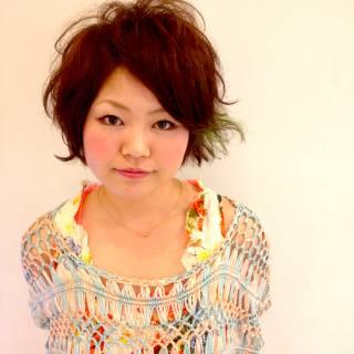 モテ髪 丸顔 ショート フェミニン ヘアスタイルや髪型の写真・画像