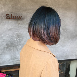 グラデーションカラー ピンク ボブ アッシュグラデーション ヘアスタイルや髪型の写真・画像