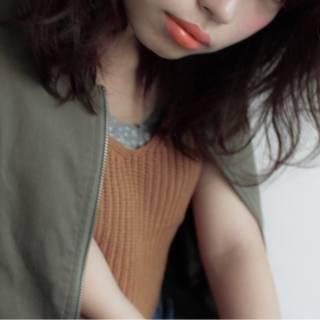 ミディアム ストリート オレンジ 秋 ヘアスタイルや髪型の写真・画像