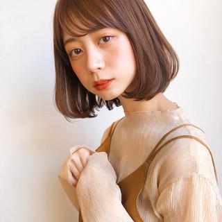 ワンカール シースルーバング ロブ ミディアム ヘアスタイルや髪型の写真・画像