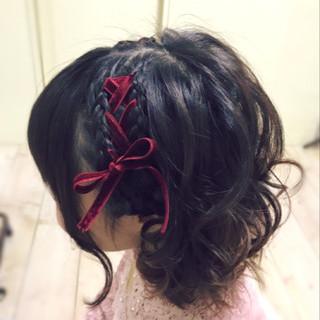 ボブ 編み込み ヘアアクセサリー ヘアアレンジ ヘアスタイルや髪型の写真・画像 ヘアスタイルや髪型の写真・画像