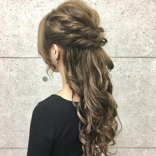 ゆるふわ ロング ヘアアレンジ ハーフアップ ヘアスタイルや髪型の写真・画像 ヘアスタイルや髪型の写真・画像