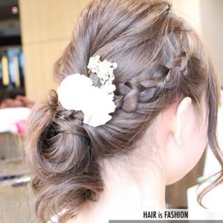 愛され ショート 編み込み 簡単ヘアアレンジ ヘアスタイルや髪型の写真・画像