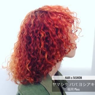 オレンジ ミディアム ストリート イエロー ヘアスタイルや髪型の写真・画像