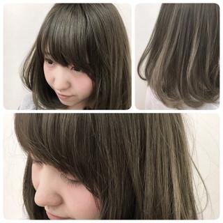 グレージュ 外国人風 グレー アッシュグレージュ ヘアスタイルや髪型の写真・画像
