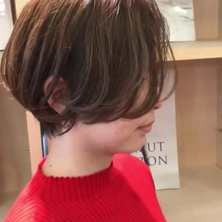 ハンサムショート ミルクティーベージュ ショートボブ ショートヘア ヘアスタイルや髪型の写真・画像