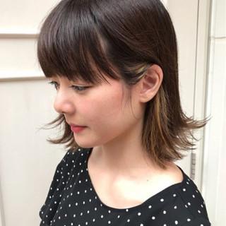 フェミニン ハイライト ボブ イルミナカラー ヘアスタイルや髪型の写真・画像