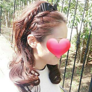 セミロング 編み込み ヘアアレンジ ショート ヘアスタイルや髪型の写真・画像