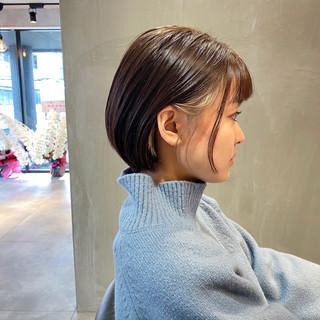 ナチュラル ボブ インナーカラー ナチュラル可愛い ヘアスタイルや髪型の写真・画像