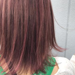 ブリーチオンカラー ガーリー ミディアム バレイヤージュ ヘアスタイルや髪型の写真・画像