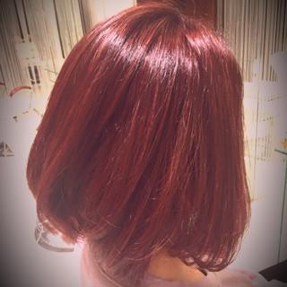 デート 冬 ピンク レッド ヘアスタイルや髪型の写真・画像