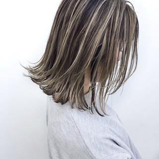 バレイヤージュ ハイライト 外国人風 ボブ ヘアスタイルや髪型の写真・画像